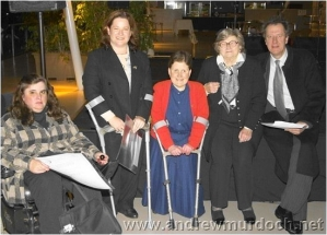 Inaugural recipient of Malcolm B Menelaus Achievement Award. Kerrie Duff (nee Engel) second from left with Liz Romanis, (honorable mention) Sue O'Neal (joint inaugural recipient), Mrs Margaret Menelaus and Geoffrey Rush. 2004 SBFV Night of Nights.