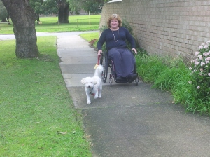 Kerrie uses a wheelchair to take Lucy for walks around the suburb.