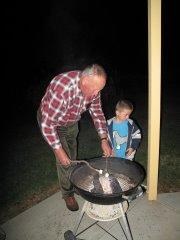 grandpa and felix prepare marshmallows